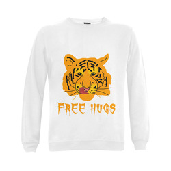 Tiger Licks His Lips Free Hugs Funny Romantic Gildan Crewneck Sweatshirt(NEW) (Model H01)