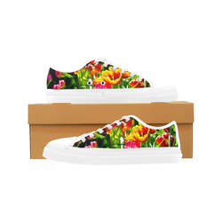 Colorful tulip flowers chic spring floral beauty Women's Canvas Zipper Shoes (Model 001)