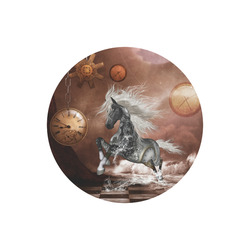 Amazing steampunk horse, silver Round Mousepad