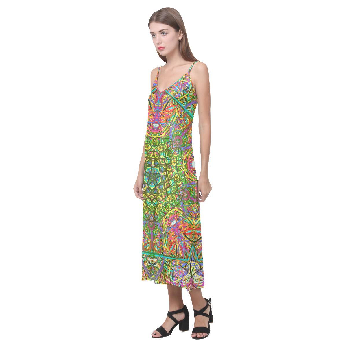 Thleudron Women's Mangshan V-Neck Open Fork Long Dress(Model D18)
