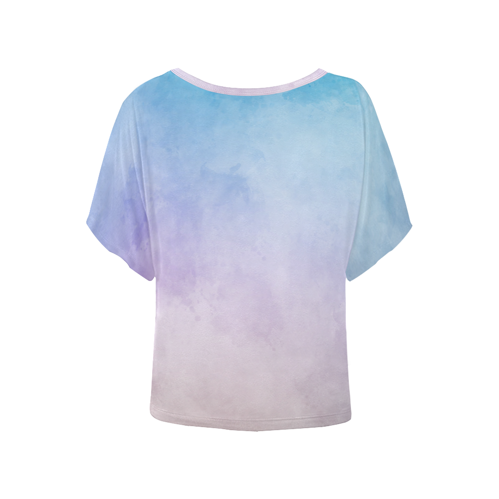 Lovely Aquarell Moves Women's Batwing-Sleeved Blouse T shirt (Model T44)