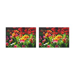 Colorful tulip flowers chic spring floral beauty Placemat 12'' x 18'' (Two Pieces)