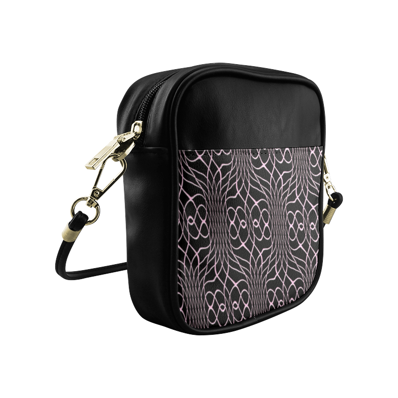 Black Pink Pineapple Twist Sling Bag (Model 1627)