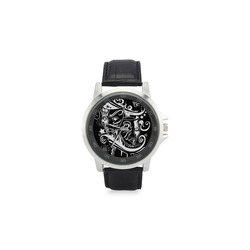 Zodiac - Gemini Unisex Stainless Steel Leather Strap Watch(Model 202)