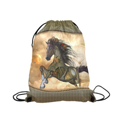 """Aweseome steampunk horse, golden Large Drawstring Bag Model 1604 (Twin Sides)  16.5""""(W) * 19.3""""(H)"""