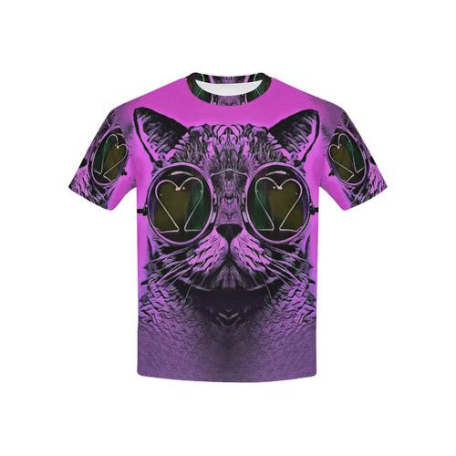 CAT PINK KITTY KIDS Kids' All Over Print T-shirt (USA Size) (Model T40)