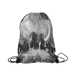 """Awesome running black horses Large Drawstring Bag Model 1604 (Twin Sides)  16.5""""(W) * 19.3""""(H)"""