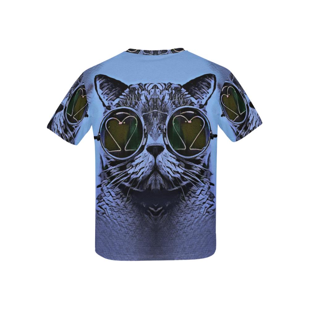 CAT BLUE KITTY KIDS Kids' All Over Print T-shirt (USA Size) (Model T40)