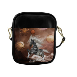 Amazing steampunk horse, silver Sling Bag (Model 1627)
