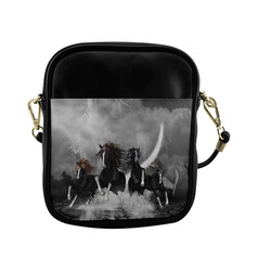 Awesome running black horses Sling Bag (Model 1627)