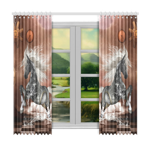 "Amazing steampunk horse, silver Window Curtain 50""x96""(Two Piece)"