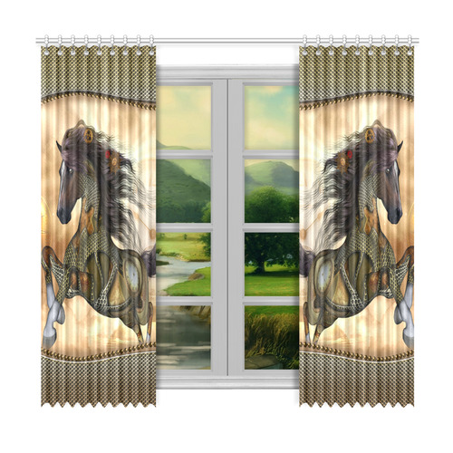 "Aweseome steampunk horse, golden Window Curtain 50""x96""(Two Piece)"
