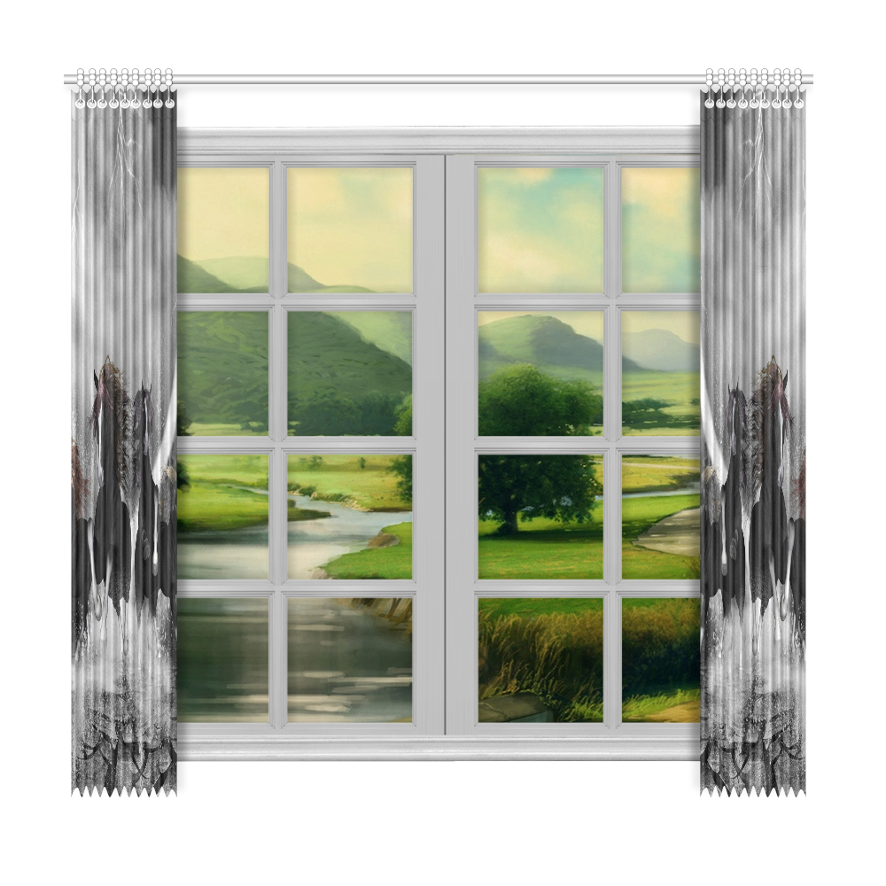 """Awesome running black horses Window Curtain 50""""x96""""(Two Piece)"""