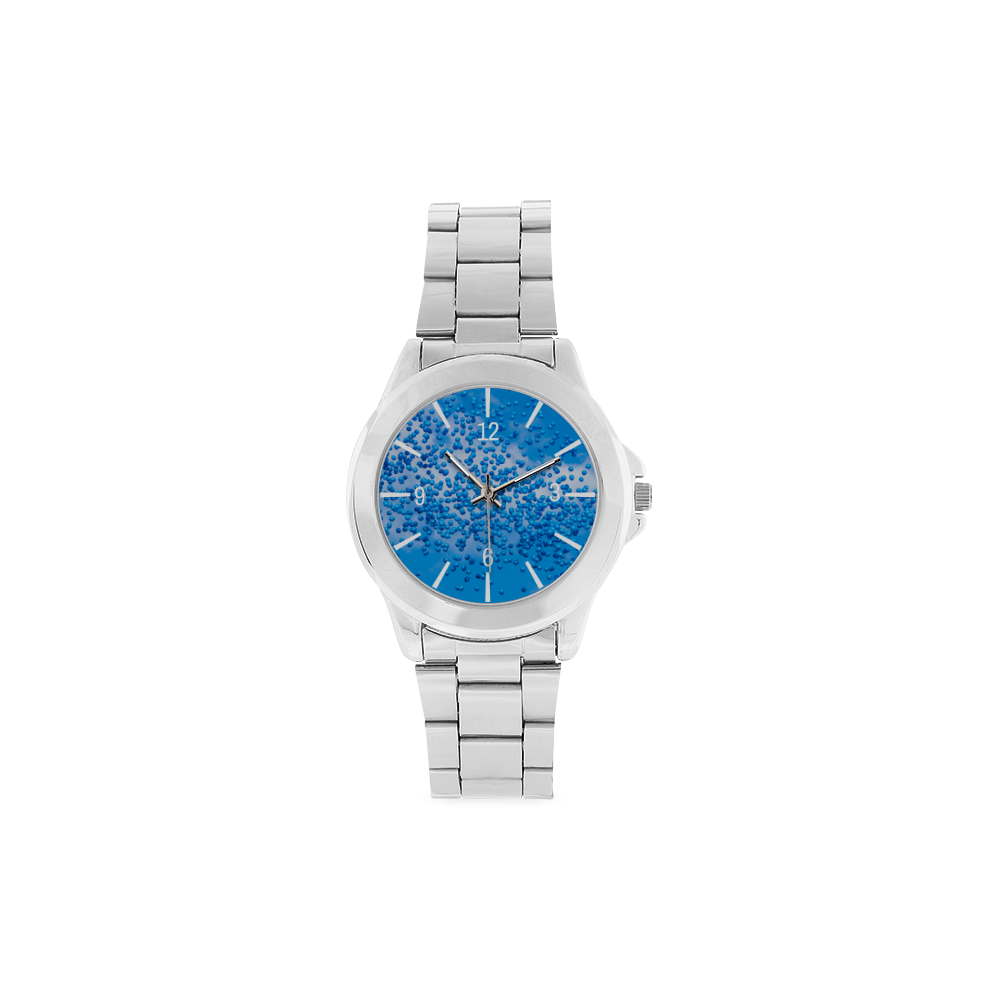Blue Toy Balloons Flight Air Sky Atmosphere Time Unisex Stainless Steel Watch(Model 103)