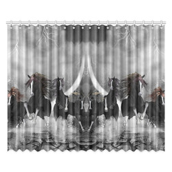 """Awesome running black horses Window Curtain 52""""x84""""(Two Pieces)"""