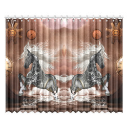 """Amazing steampunk horse, silver Window Curtain 52""""x84""""(Two Pieces)"""