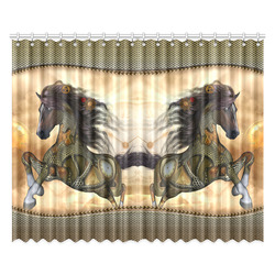 """Aweseome steampunk horse, golden Window Curtain 52""""x84""""(Two Pieces)"""