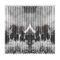 "Awesome running black horses Window Curtain 50""x96""(Two Piece)"
