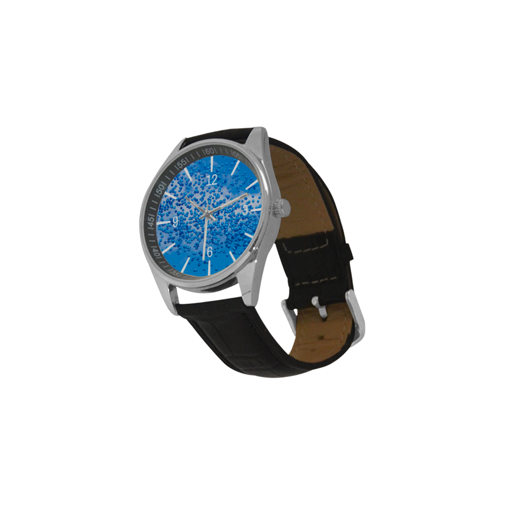 Blue Toy Balloons Flight Air Sky Atmosphere Time Men's Casual Leather Strap Watch(Model 211)