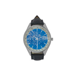 Blue Toy Balloons Flight Air Sky Atmosphere Time Men's Leather Strap Analog Watch(Model 209)