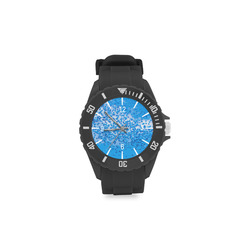 Blue Toy Balloons Flight Air Sky Atmosphere Time Sport Rubber Strap Watch(Model 301)