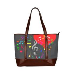 Singing Heart Red Song Color Music Love Romantic Tote Handbag (Model 1642)