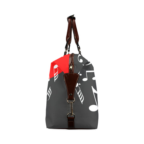 Singing Heart Red Note Music Love Romantic White Classic Travel Bag (Model 1643) Remake