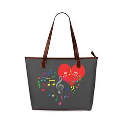 Singing Heart Red Song Color Music Love Romantic Shoulder Tote Bag (Model 1646)