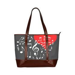 Singing Heart Red Note Music Love Romantic White Tote Handbag (Model 1642)