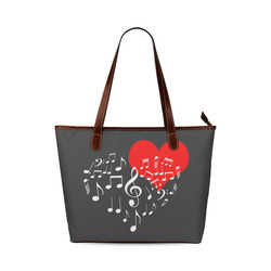 Singing Heart Red Note Music Love Romantic White Shoulder Tote Bag (Model 1646)