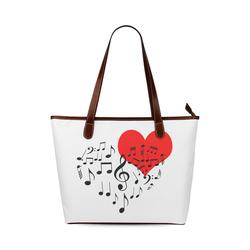 Singing Heart Red Song Black Music Love Romantic Shoulder Tote Bag (Model 1646)