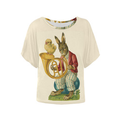 Vintage Easter Bunny Chick French Horn Women's Batwing-Sleeved Blouse T shirt (Model T44)