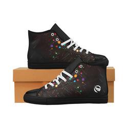 black_floral_backgrounds_532628 Aquila High Top Microfiber Leather Men's Shoes (Model 027)