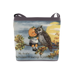 Pumpkin Owl Vintage Halloween Hoot Crossbody Bags (Model 1613)