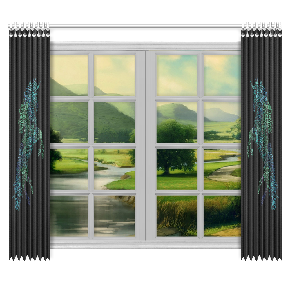 """3D Psychedelic Unicorn blue and green Window Curtain 50""""x84""""(Two Piece)"""