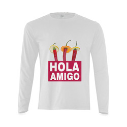 Hola Amigo Three Red Chili Peppers Friend Funny Sunny Men's T-shirt (long-sleeve) (Model T08)