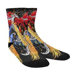 Saxophone Print Black Socks Crew Socks