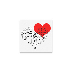 "Singing Heart Red Song Black Music Love Romantic Canvas Print 4""x4"""
