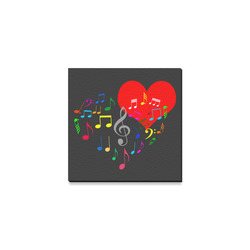 "Singing Heart Red Song Color Music Love Romantic Canvas Print 4""x4"""
