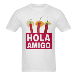 Hola Amigo Three Red Chili Peppers Friend Funny Sunny Men's T- shirt (Model T06)