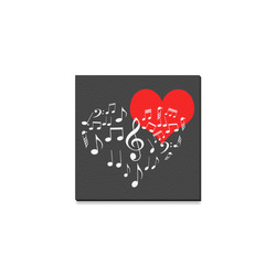 "Singing Heart Red Note Music Love Romantic White Canvas Print 4""x4"""