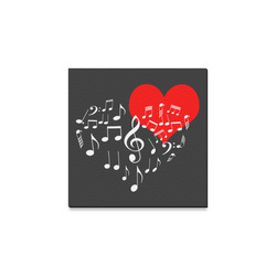 """Singing Heart Red Note Music Love Romantic White Canvas Print 8""""x8"""""""