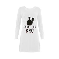 Halloween Horror Zombie Treat Me Bro funny cool Demeter Long Sleeve Nightdress (Model D03)