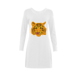 Funny Clever Cunning Wild Tiger Cat Animal Cute Demeter Long Sleeve Nightdress (Model D03)
