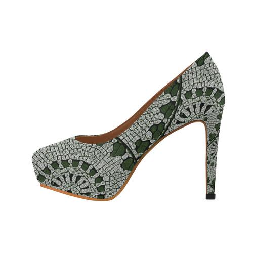 LACE DARK GREEN Women's High Heels (Model 044)