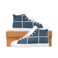Solar Technology Power Panel Battery Photovoltaic Aquila High Top Microfiber Leather Women's Shoes (Model 032)