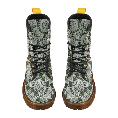 LACE DARK GREEN High Grade PU Leather Martin Boots For Women Model 402H