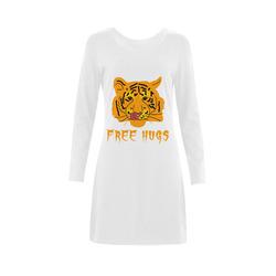 Tiger Licks His Lips Free Hugs Funny Romantic Demeter Long Sleeve Nightdress (Model D03)