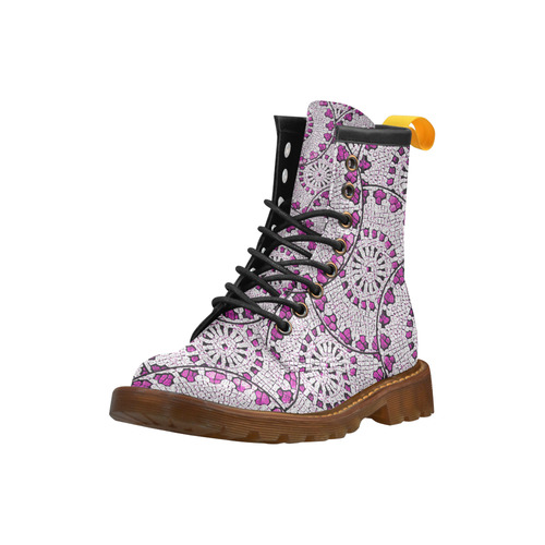 LACE PINK ABSTRACT High Grade PU Leather Martin Boots For Women Model 402H