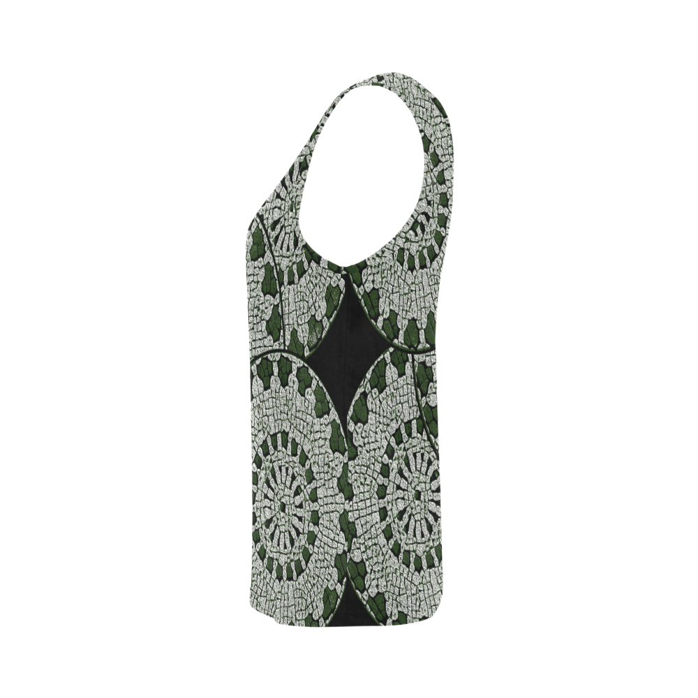 LACE DARK GREEN All Over Print Tank Top for Women (Model T43)